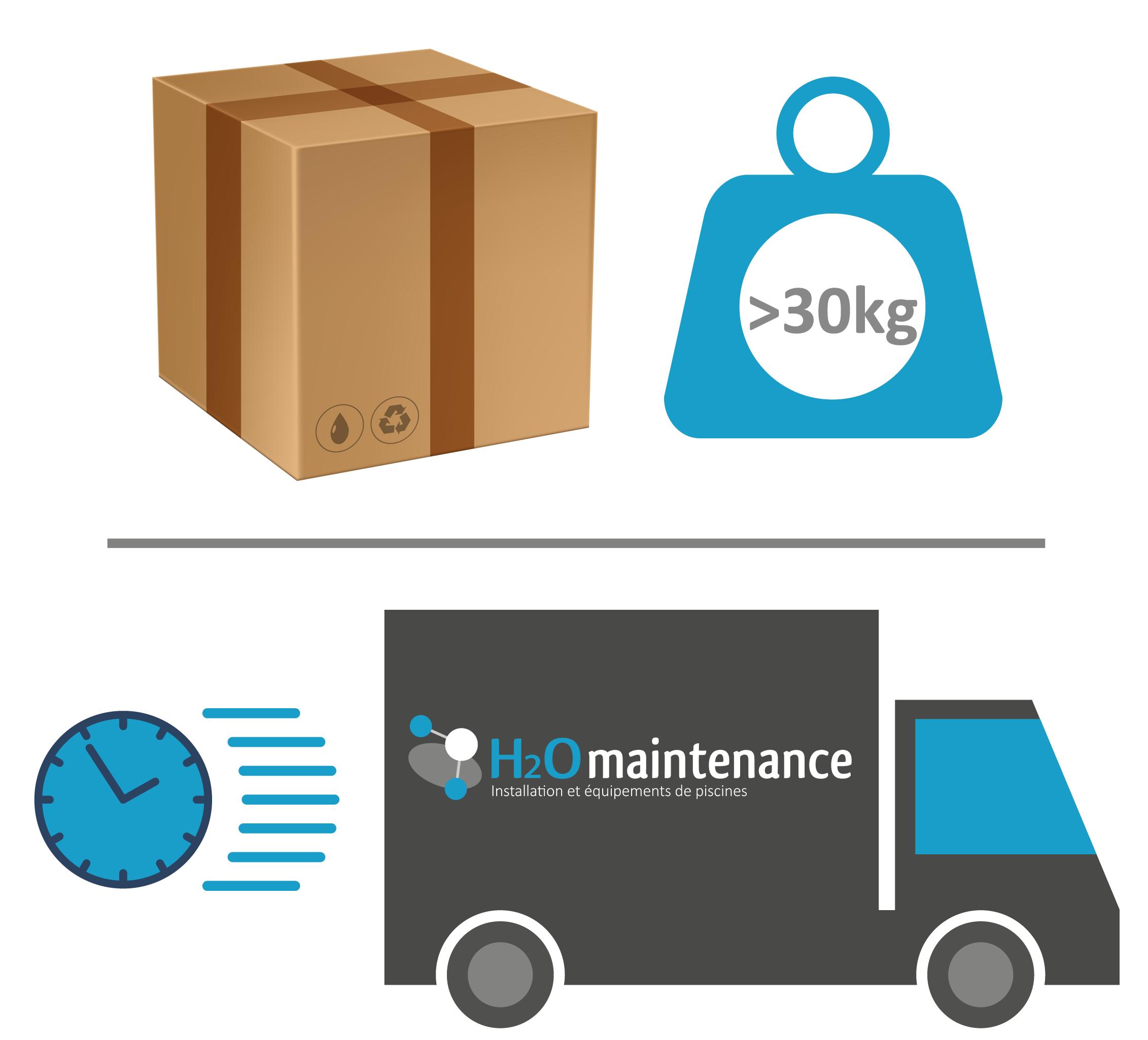 La livraison est assurée par h2o maintenance pour les colis de plus de 30 kg